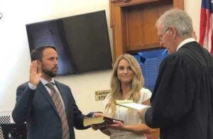 State Attorney John Durrett announces swearing in of Michael Pope